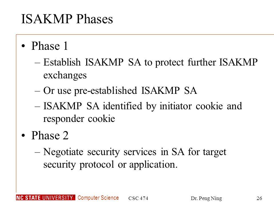ISAKMP Phases Phase 1 Phase 2