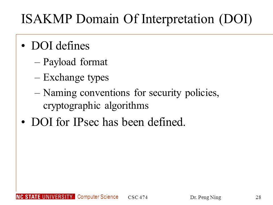 ISAKMP Domain Of Interpretation (DOI)