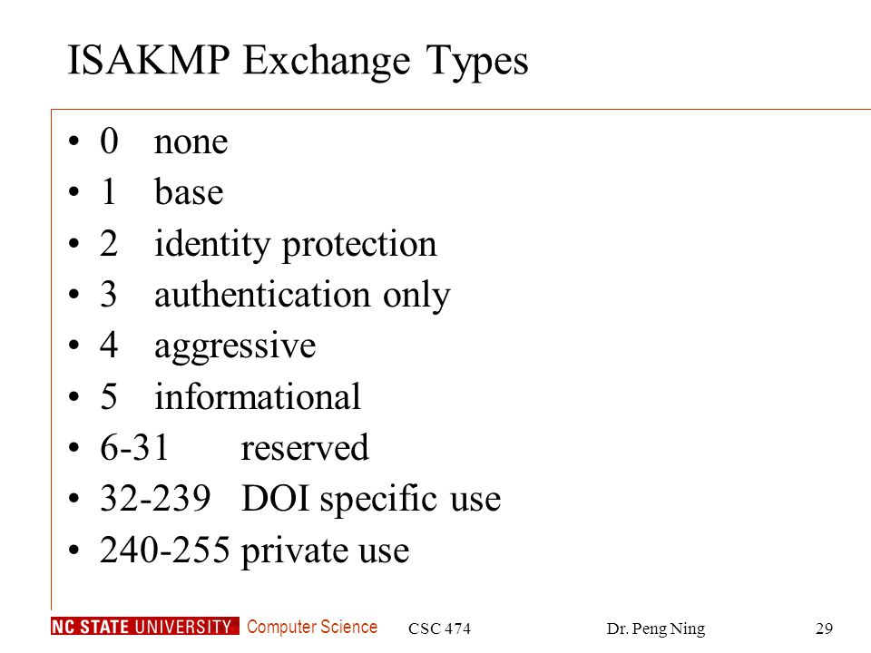 ISAKMP Exchange Types 0 none 1 base 2 identity protection