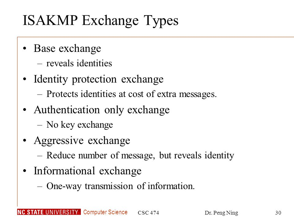 ISAKMP Exchange Types Base exchange Identity protection exchange