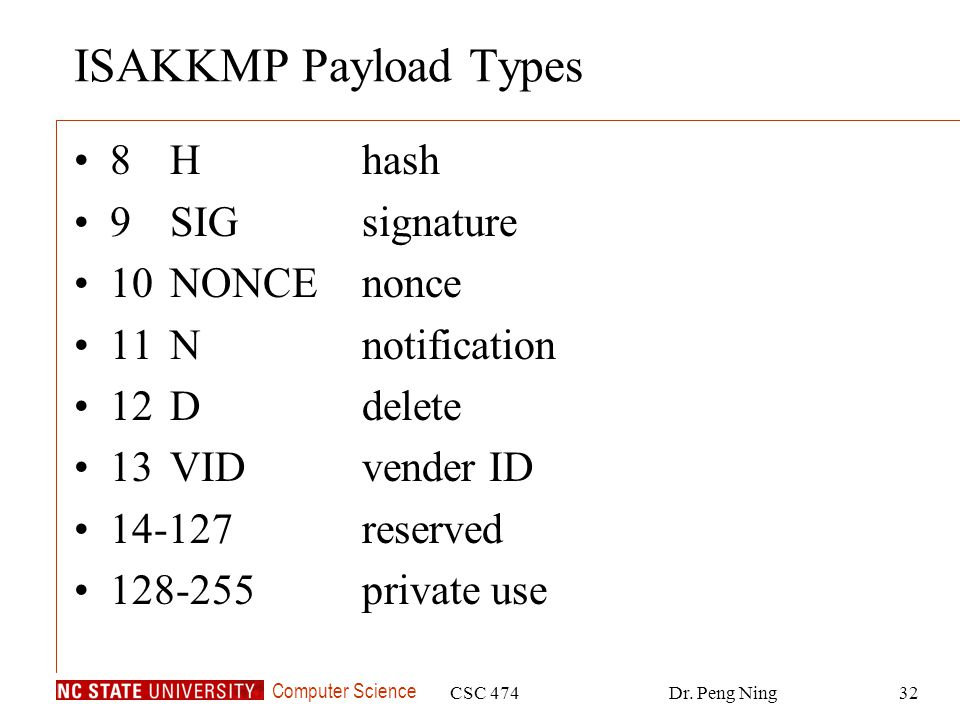 ISAKKMP Payload Types 8 H hash 9 SIG signature 10 NONCE nonce
