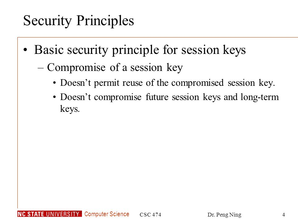 Security Principles Basic security principle for session keys