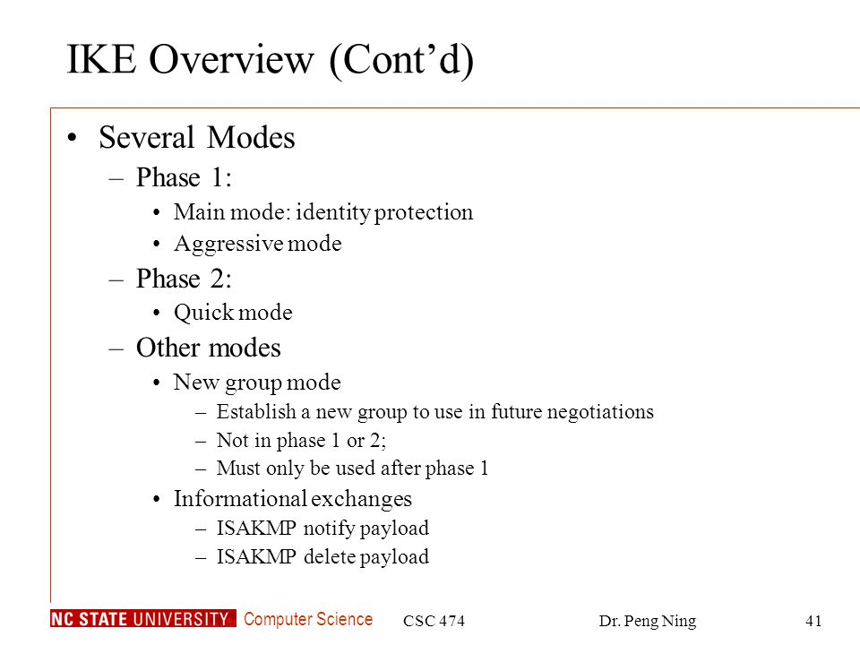 IKE Overview (Cont'd) Several Modes Phase 1: Phase 2: Other modes
