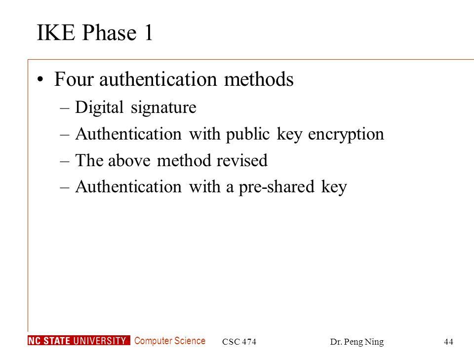 IKE Phase 1 Four authentication methods Digital signature