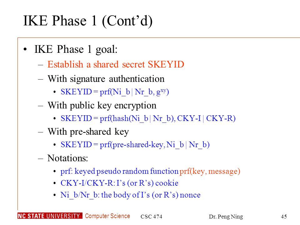 IKE Phase 1 (Cont'd) IKE Phase 1 goal: