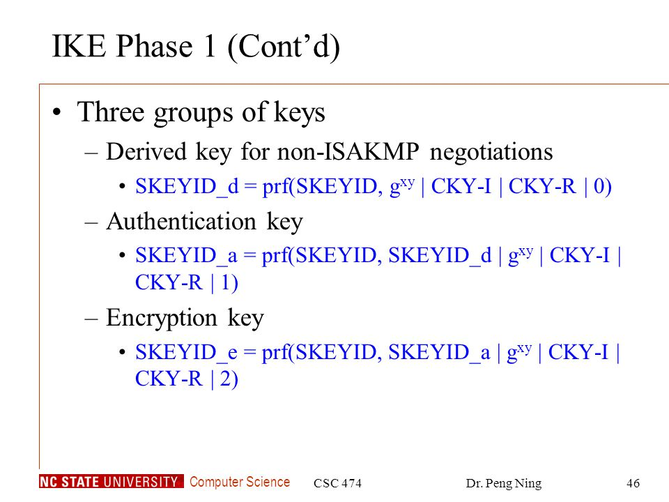 IKE Phase 1 (Cont'd) Three groups of keys