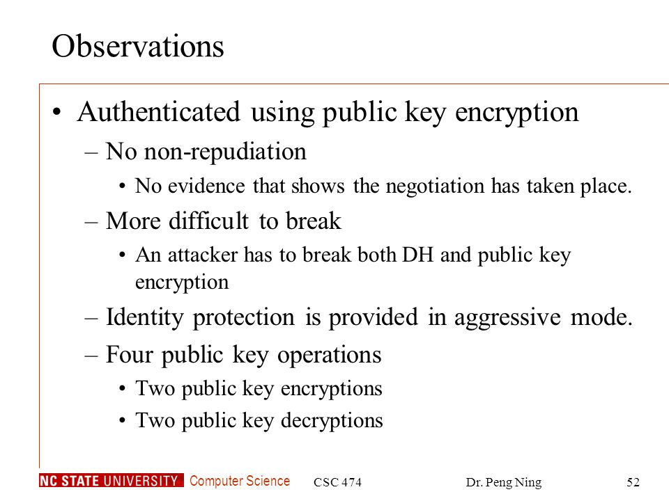 Observations Authenticated using public key encryption