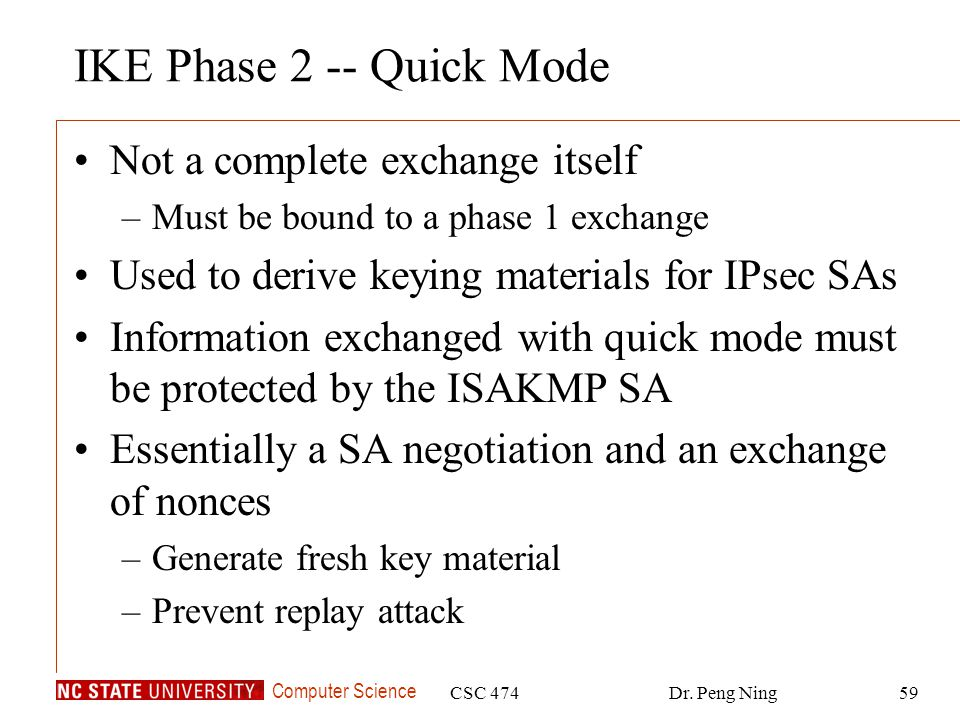 IKE Phase 2 -- Quick Mode Not a complete exchange itself