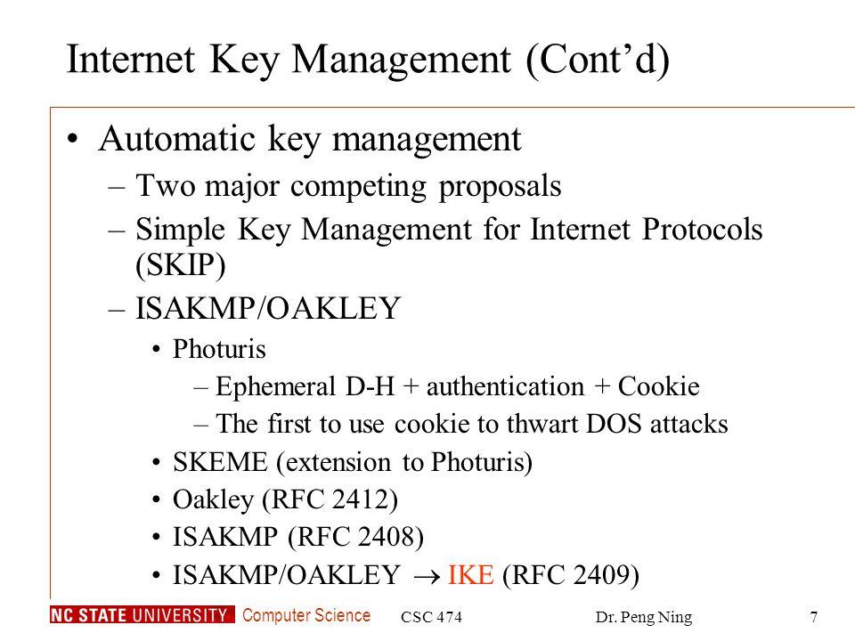 Internet Key Management (Cont'd)