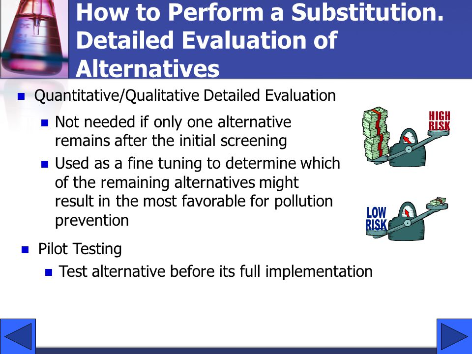 How to Perform a Substitution. Detailed Evaluation of Alternatives