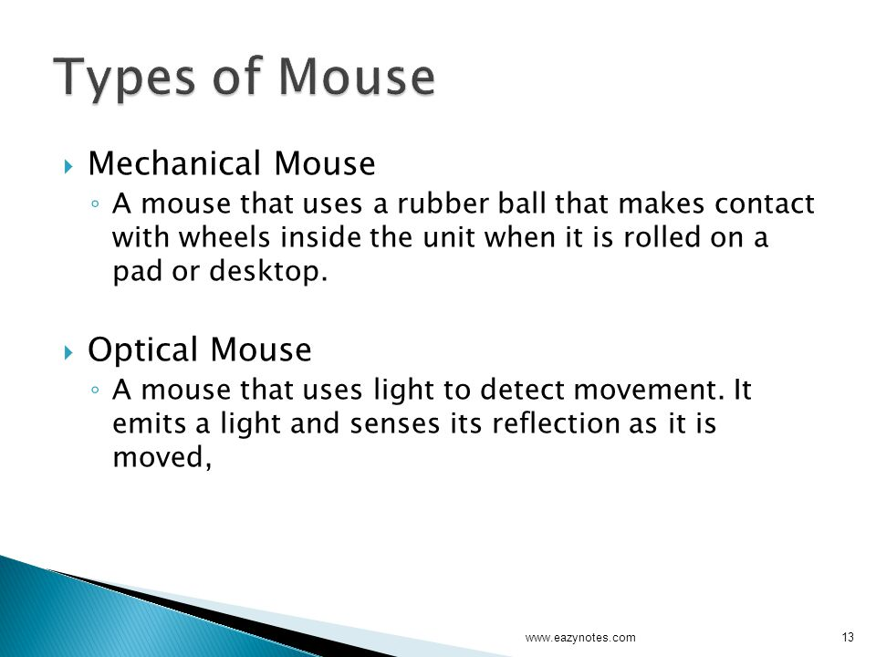 Types of Mouse Mechanical Mouse Optical Mouse