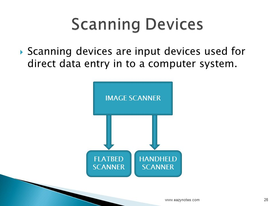 Scanning Devices Scanning devices are input devices used for direct data entry in to a computer system.