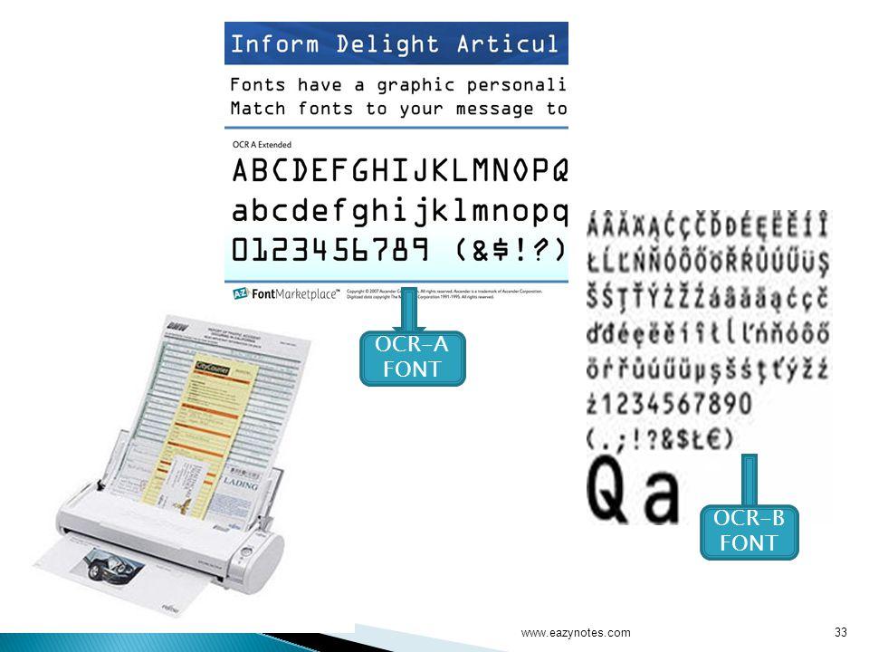 OCR-A FONT OCR-B FONT www.eazynotes.com