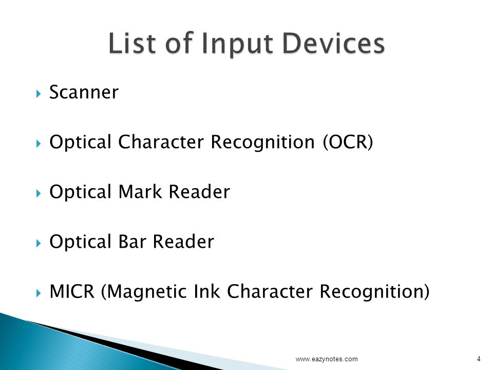 List of Input Devices Scanner Optical Character Recognition (OCR)