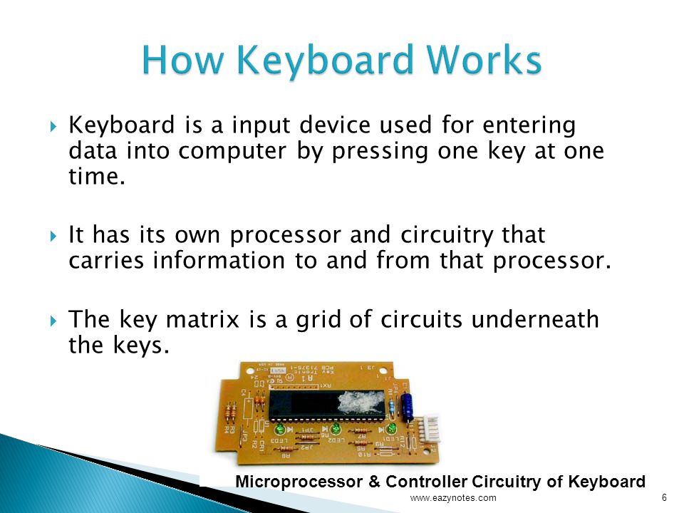 How Keyboard Works Keyboard is a input device used for entering data into computer by pressing one key at one time.