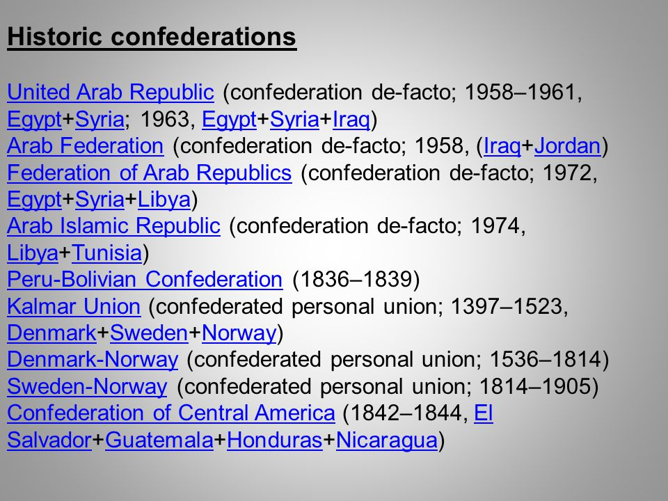 Historic confederations
