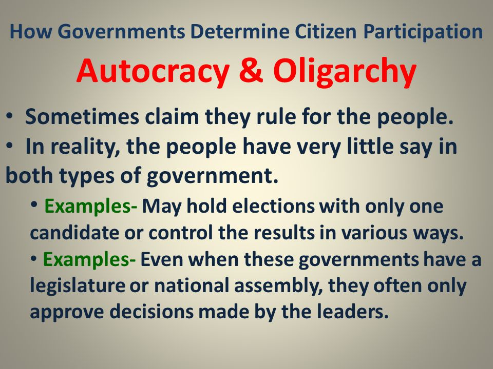 How Governments Determine Citizen Participation