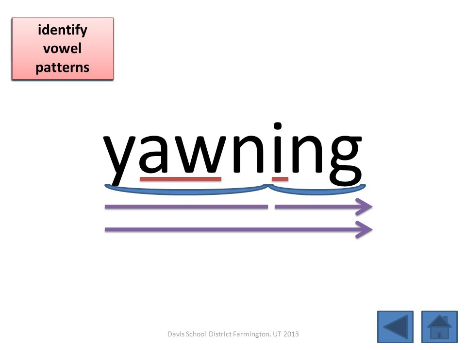 yawning click per vowel blend individual syllables