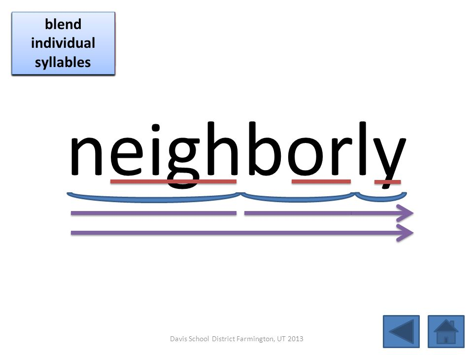 neighborly click per vowel blend individual syllables