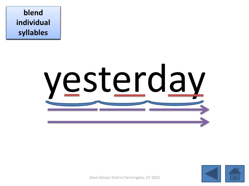 yesterday click per vowel blend individual syllables