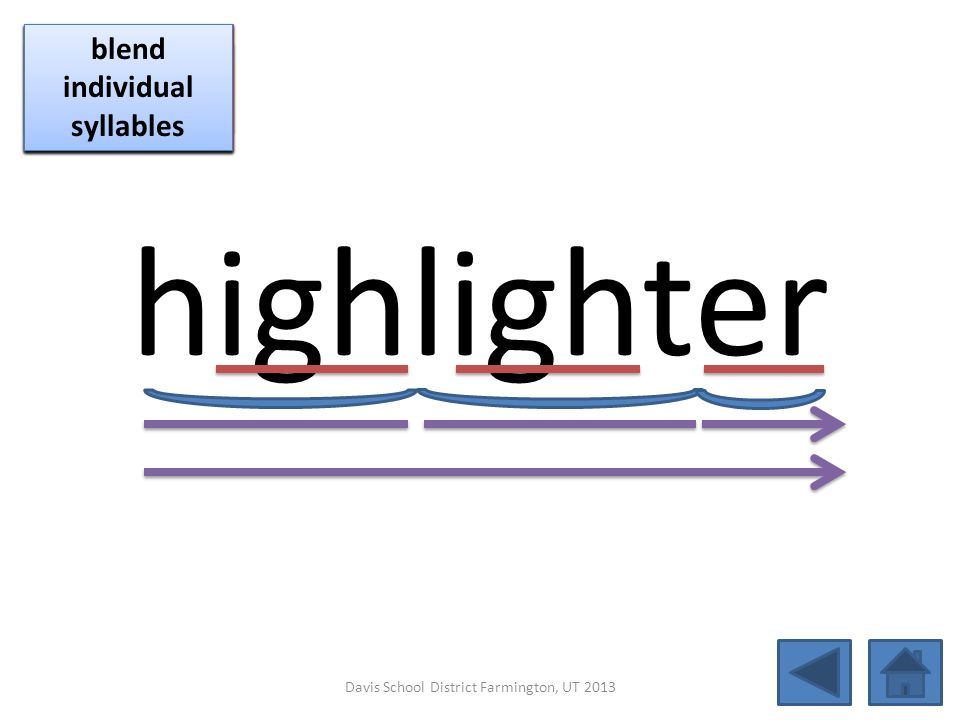 highlighter click per vowel blend individual syllables