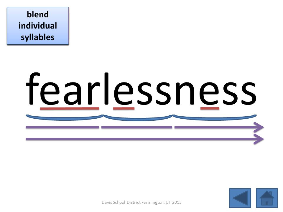 fearlessness click per vowel blend individual syllables
