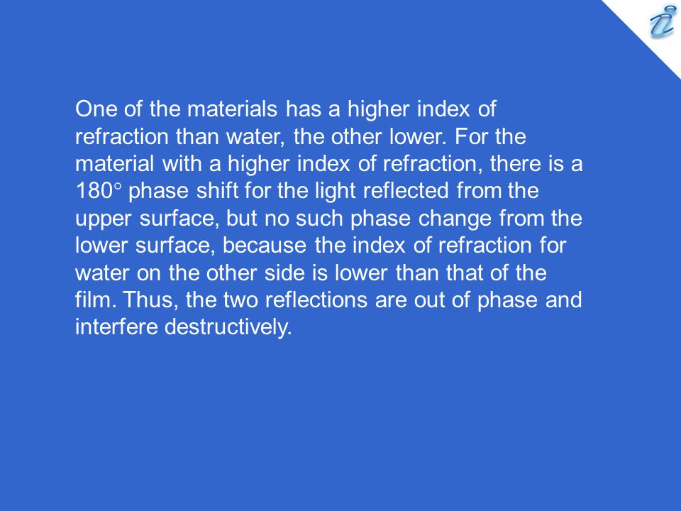 One of the materials has a higher index of refraction than water, the other lower.