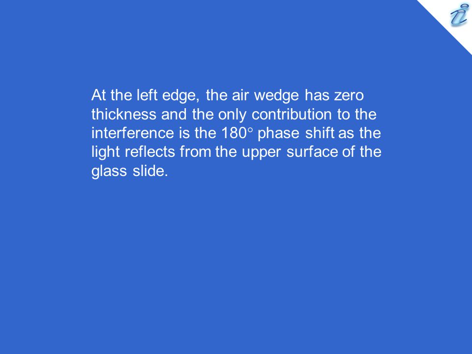 At the left edge, the air wedge has zero thickness and the only contribution to the interference is the 180° phase shift as the light reflects from the upper surface of the glass slide.