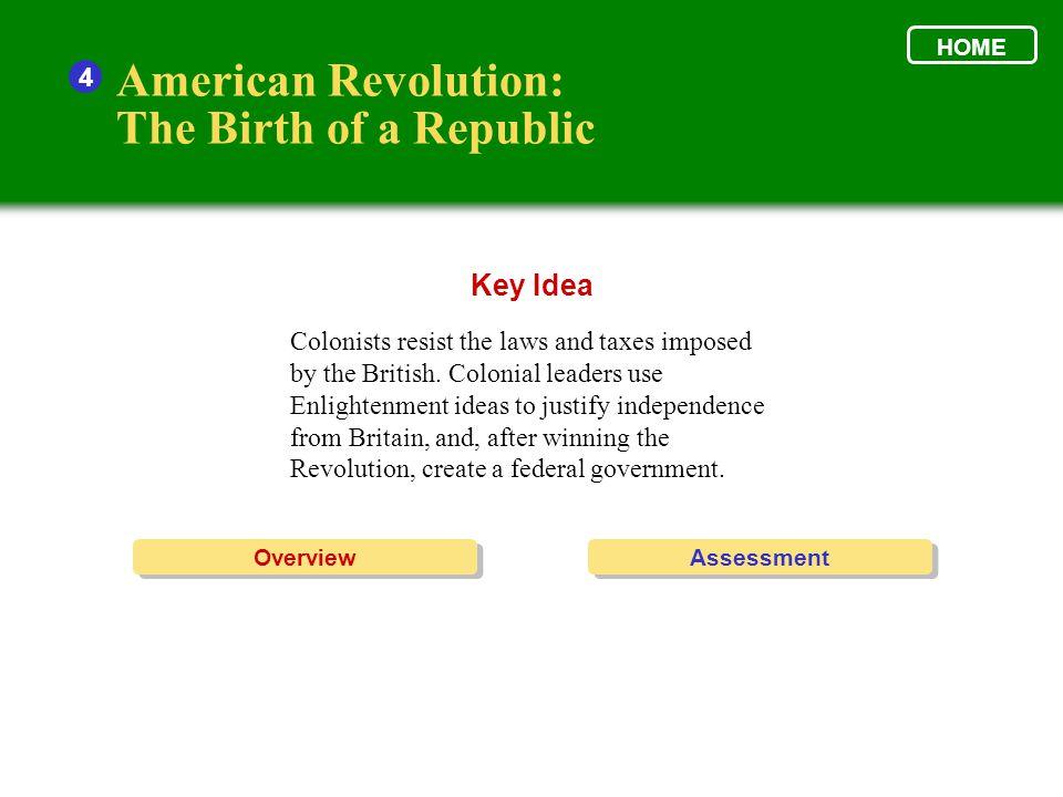American Revolution: The Birth of a Republic Key Idea 4