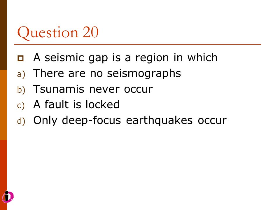 Question 20 A seismic gap is a region in which