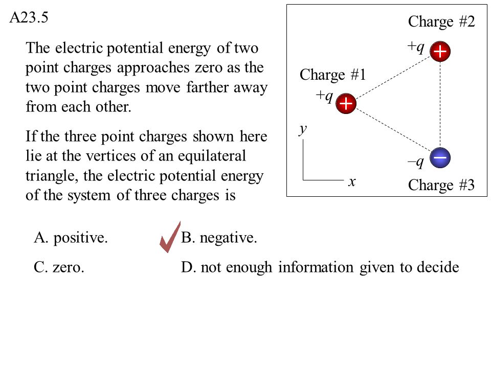 A23.5 Charge #2. The electric potential energy of two point charges approaches zero as the two point charges move farther away from each other.