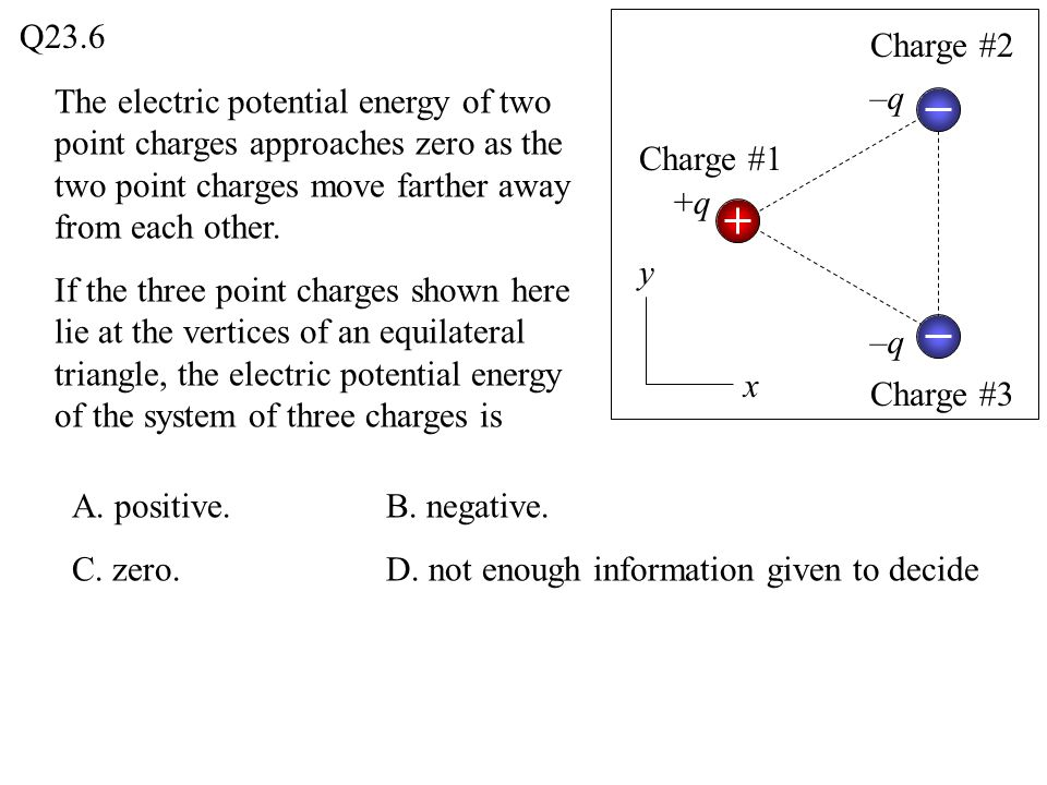 Q23.6 Charge #2. The electric potential energy of two point charges approaches zero as the two point charges move farther away from each other.