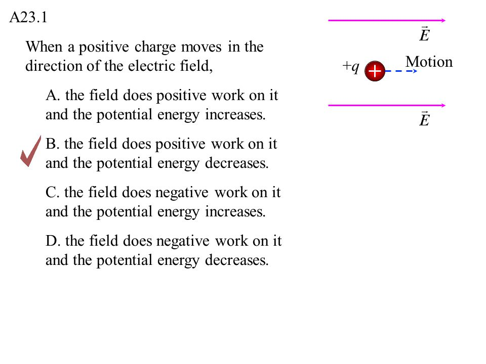 A23.1 When a positive charge moves in the direction of the electric field, Motion. +q.
