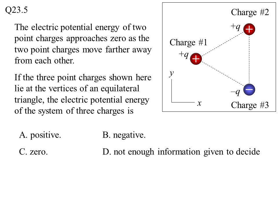 Q23.5 Charge #2. The electric potential energy of two point charges approaches zero as the two point charges move farther away from each other.