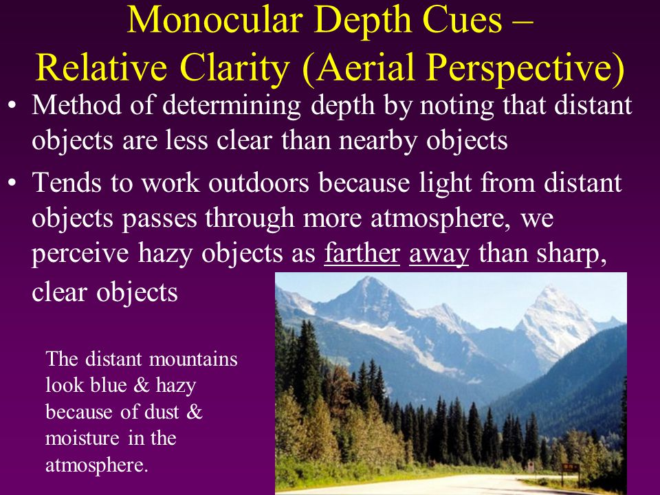 Monocular Depth Cues – Relative Clarity (Aerial Perspective)