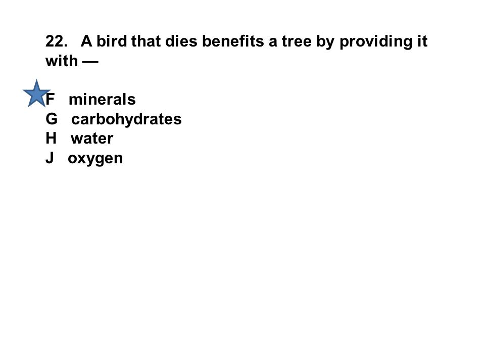 22. A bird that dies benefits a tree by providing it with —