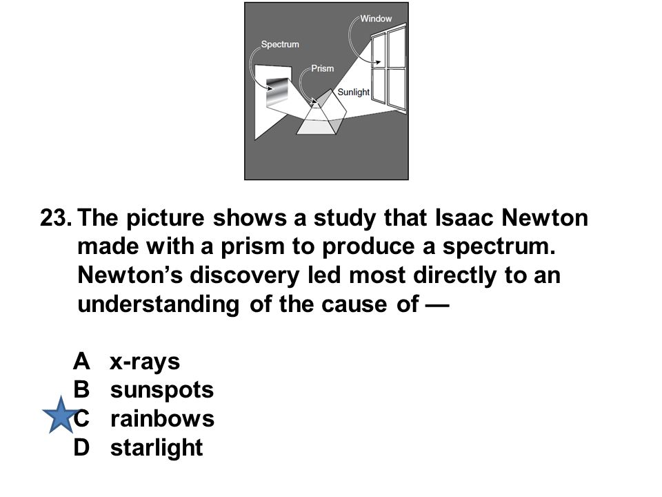 The picture shows a study that Isaac Newton made with a prism to produce a spectrum. Newton's discovery led most directly to an understanding of the cause of —
