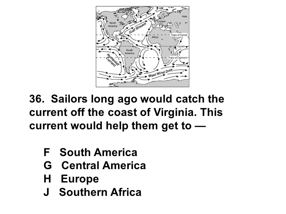 36. Sailors long ago would catch the current off the coast of Virginia