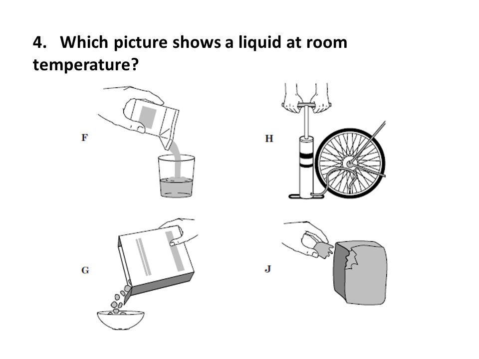 4. Which picture shows a liquid at room temperature