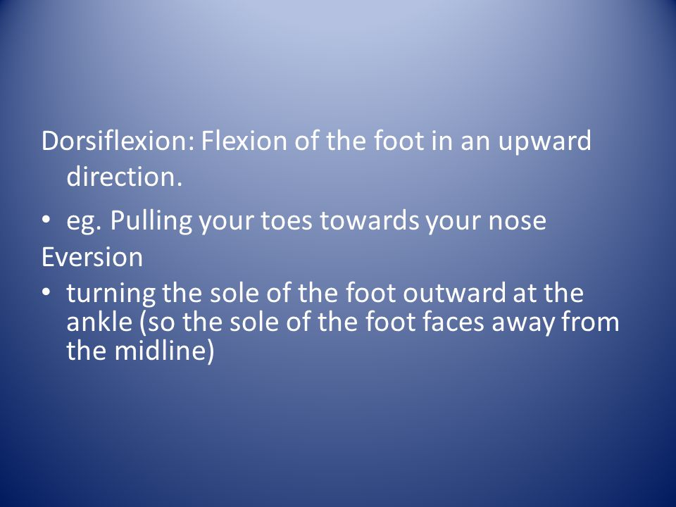 Dorsiflexion: Flexion of the foot in an upward direction.