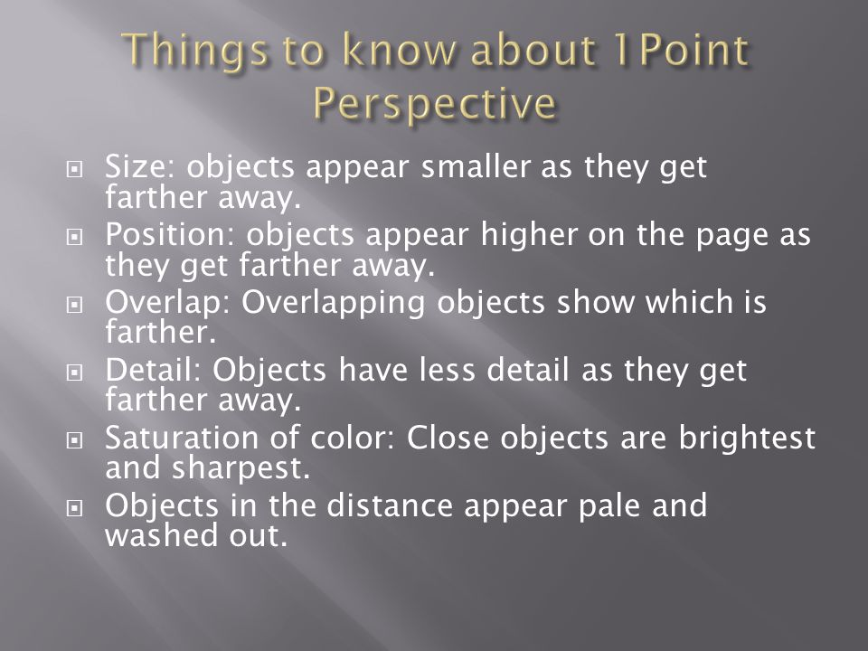 Things to know about 1Point Perspective