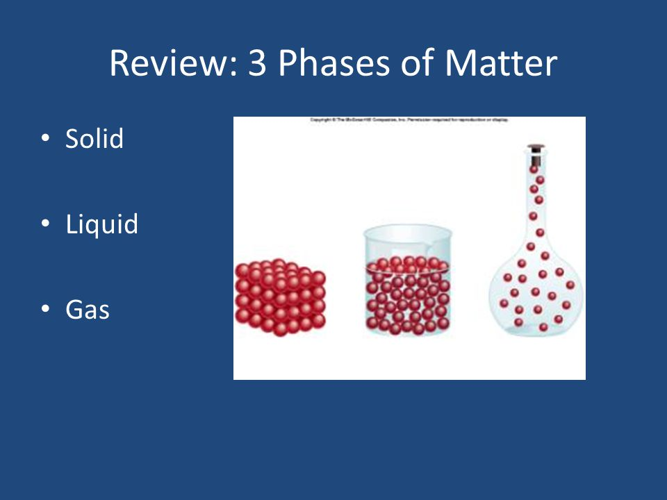 Review: 3 Phases of Matter