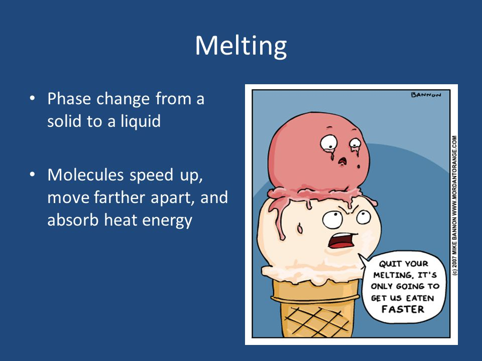 Melting Phase change from a solid to a liquid