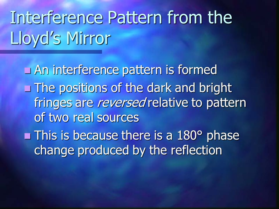 Interference Pattern from the Lloyd's Mirror
