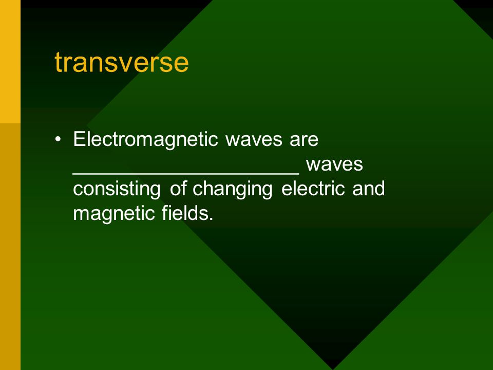 transverse Electromagnetic waves are ____________________ waves consisting of changing electric and magnetic fields.
