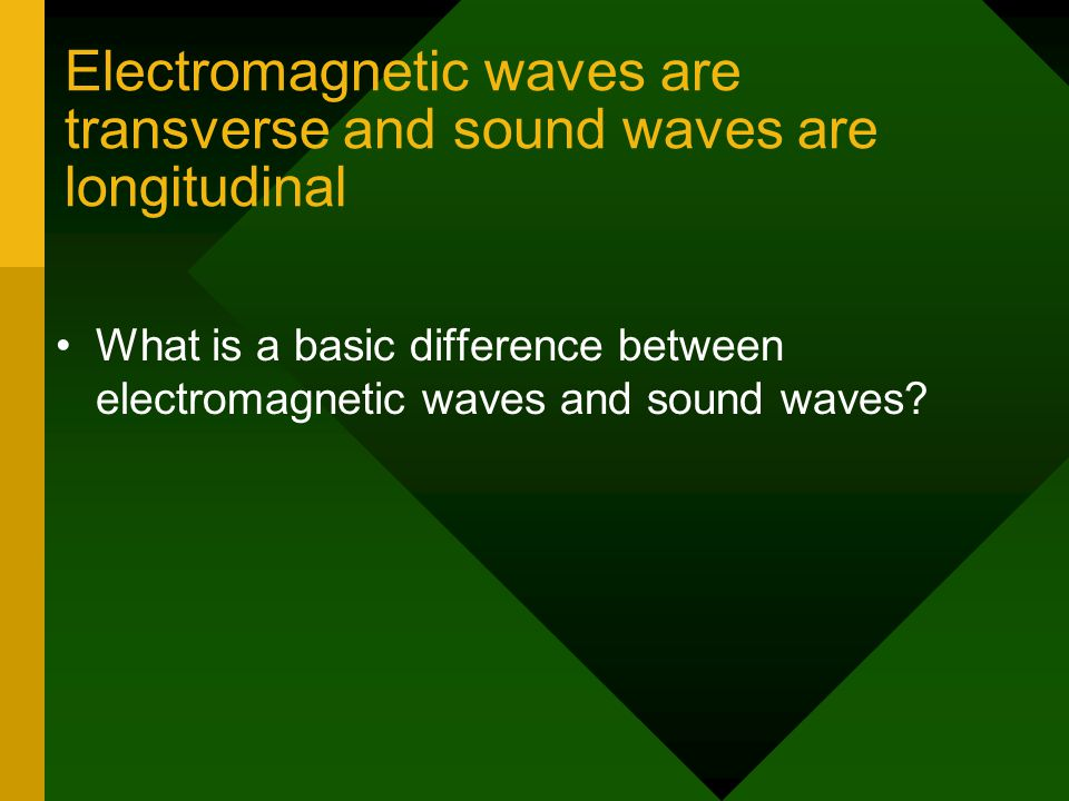 Electromagnetic waves are transverse and sound waves are longitudinal