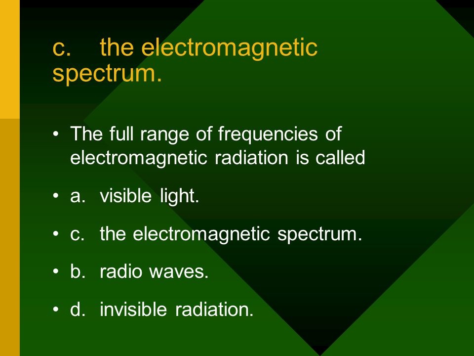 c. the electromagnetic spectrum.