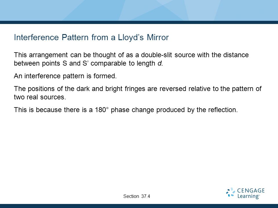 Interference Pattern from a Lloyd's Mirror