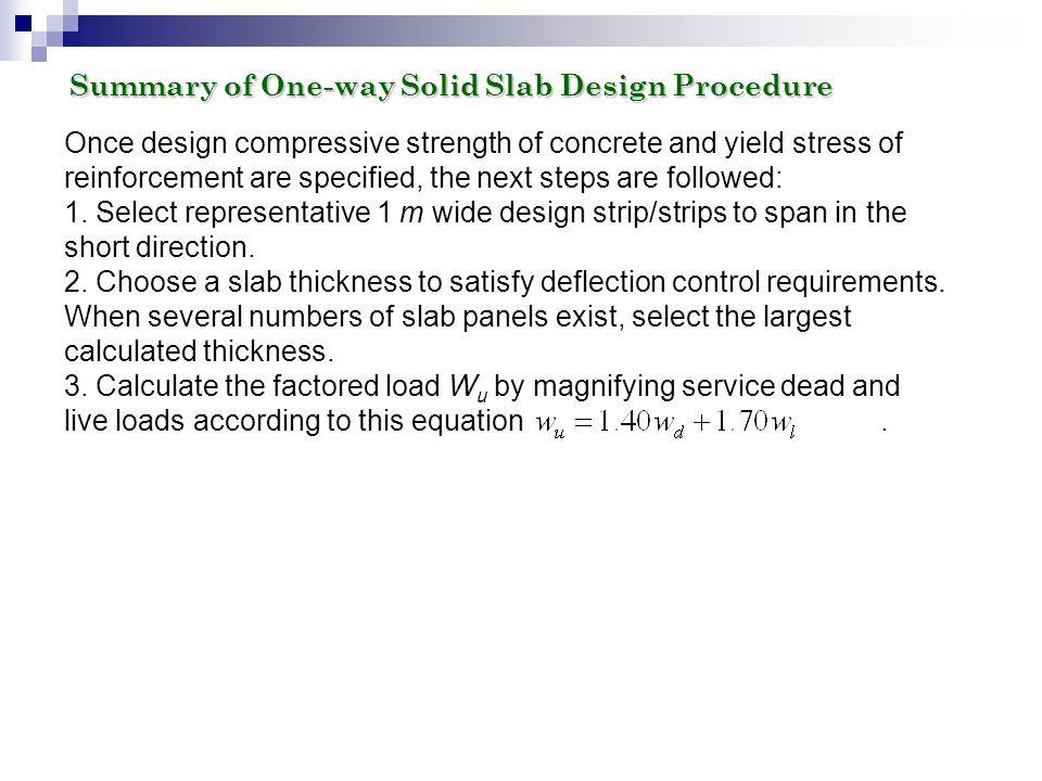 Summary of One-way Solid Slab Design Procedure