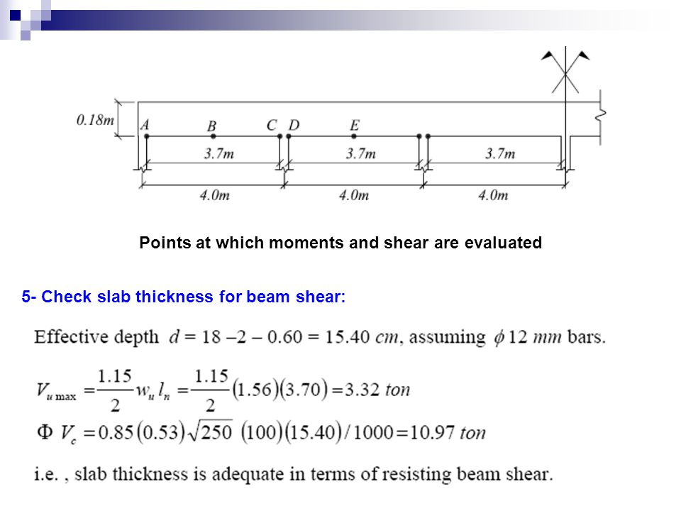 Points at which moments and shear are evaluated